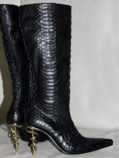 Сапоги женские питон черные